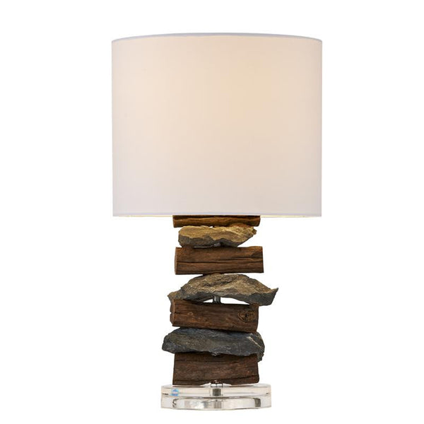 River Stone and Teak Wood Table Lamp with White Linen Shade 17-in