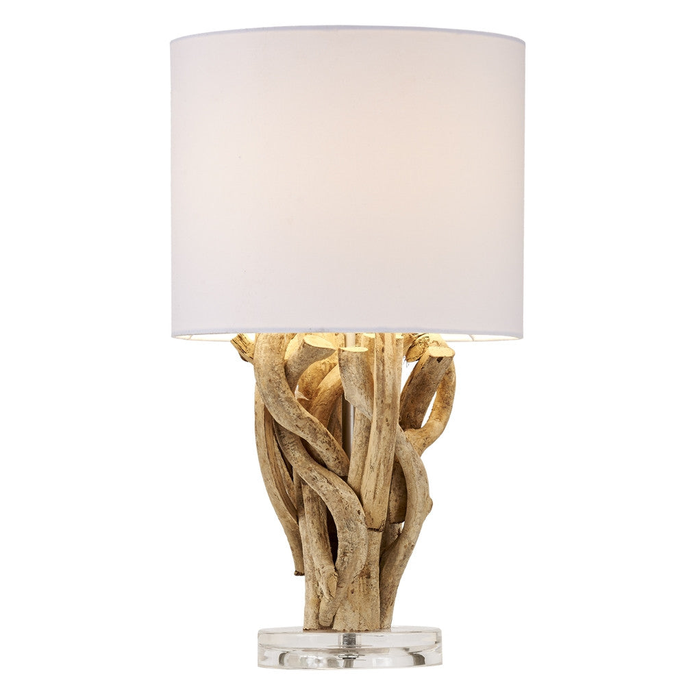 Entangled Driftwood Vine Sculpture Table Lamp with White Linen Shade 18-in