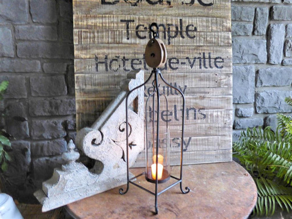 Vintage Tall Pulley Freestanding Candle Holder Lantern 26-in - Mellow Monkey