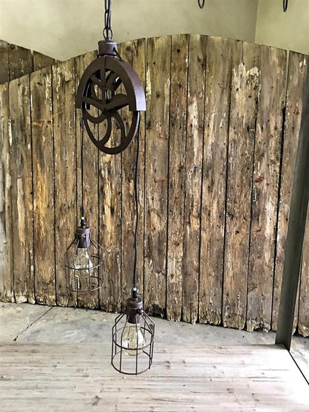 Industrial Vintage Double Pulley Pendant Lamp - Mellow Monkey