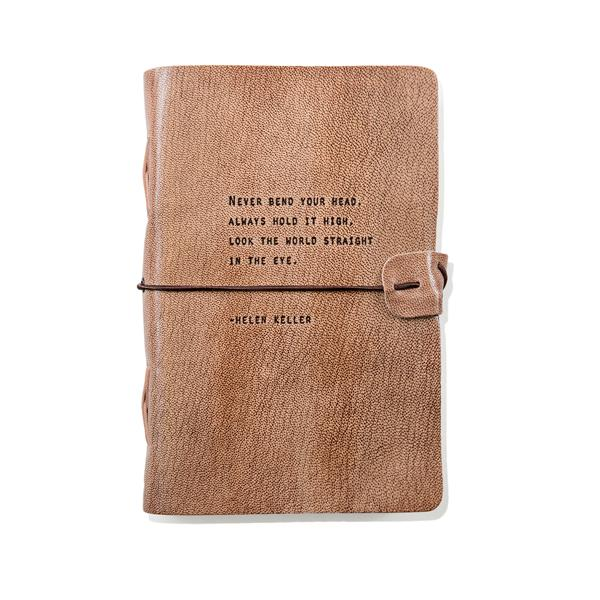 Blush Leather Journal - Never bend your head, always hold it high... -Helen Keller