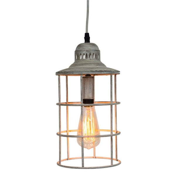 Nautical Metal Distressed White Hanging Pendant Lamp - Mellow Monkey
