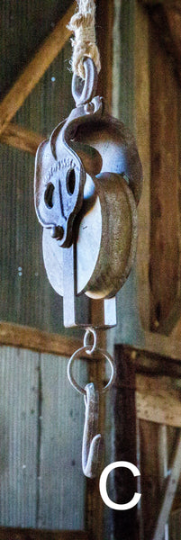 Industrial Decorative Iron Faux Pulley with Jute Rope and Hook