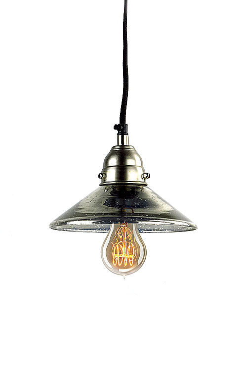 Mercury Glass Antiqued Classic Pendant Lamp - Mellow Monkey  - 1