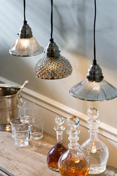 Mercury Glass Antiqued Classic Pendant Lamp - Mellow Monkey  - 3