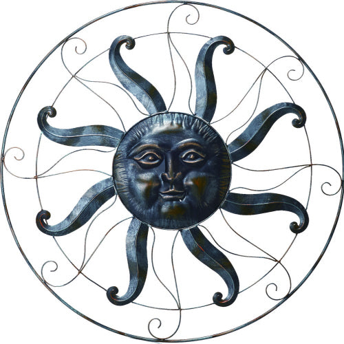 Celestial Sun Face | Large Metal Wall Decor Indoor Outdoor Garden - 36-in