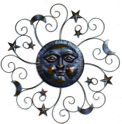 Celestial Metal Sun Face with Moon and Stars | Large Metal Wall Decor Indoor Outdoor Garden - 39-in