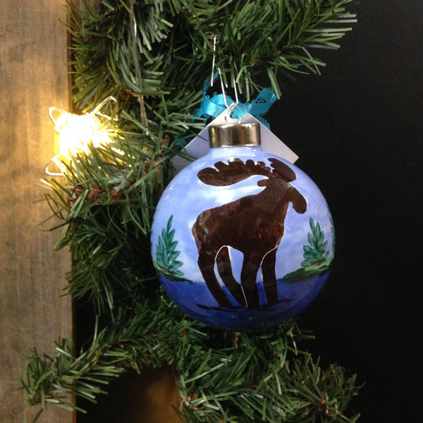 Hand Painted Lodge Moose Ceramic Ornament - SHARD Pottery of Maine - Mellow Monkey  - 3