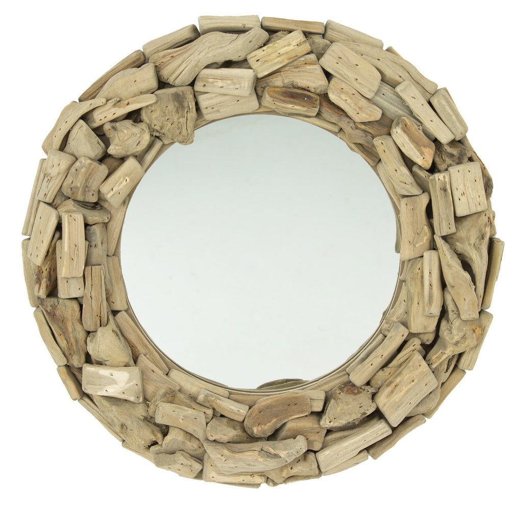 Driftwood Round Wall Mirror - 16-in