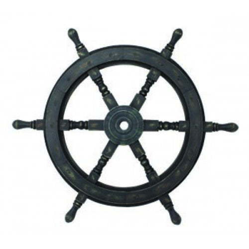 Wood Ship's Wheel Nautical Wall or Floor Decor - Antique Black 24-in
