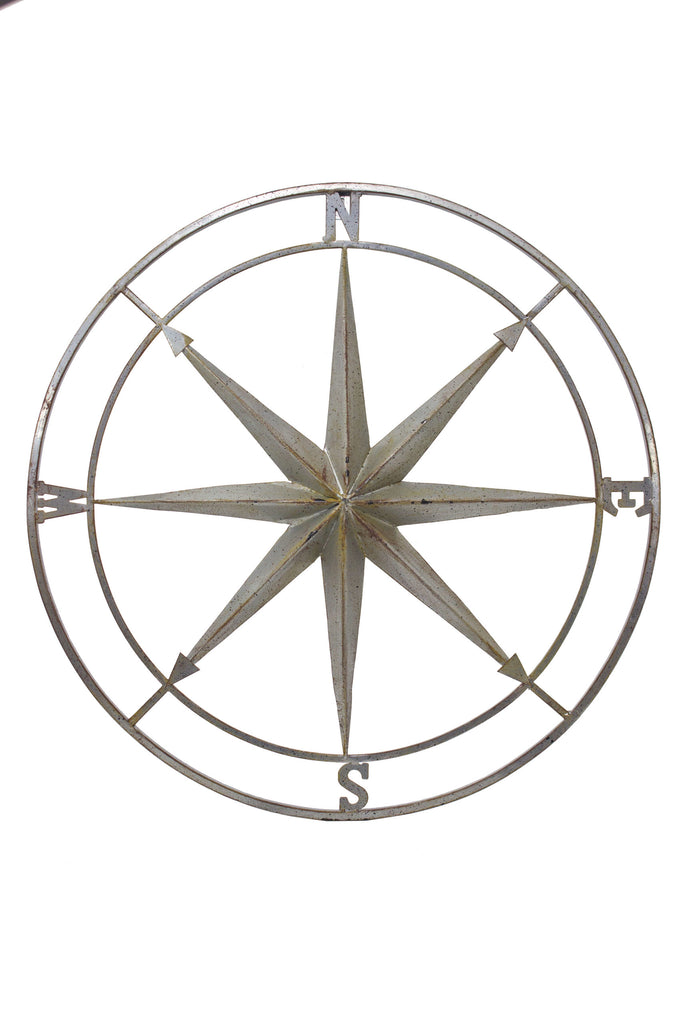 Distressed Antique Silver Gray Metal Rose Compass Wall Decor - 26-in