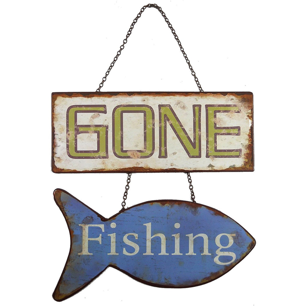Gone Fishing Vintage Tin Wall Door Hanging Sign