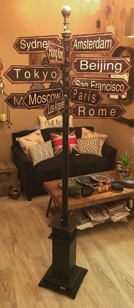 Antique Style Metal World Cities Signpost - Free Standing 85-in H - Mellow Monkey  - 1