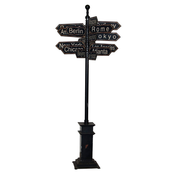 Antique Style Metal World Cities Signpost - Free Standing 85-in H - Mellow Monkey  - 2