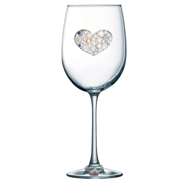 Multi Stone Heart Jeweled Stemmed Wine Glass with Wine Charm