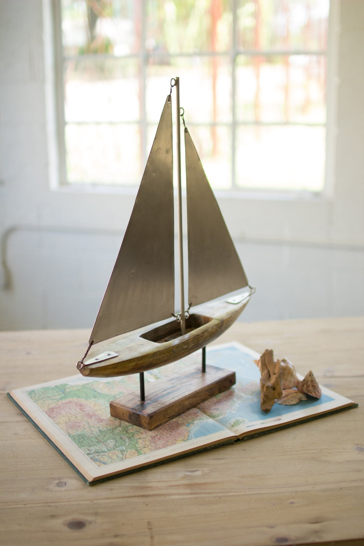 Carved Wooden Sailboat with Metal Sails on a Stand - 22-in