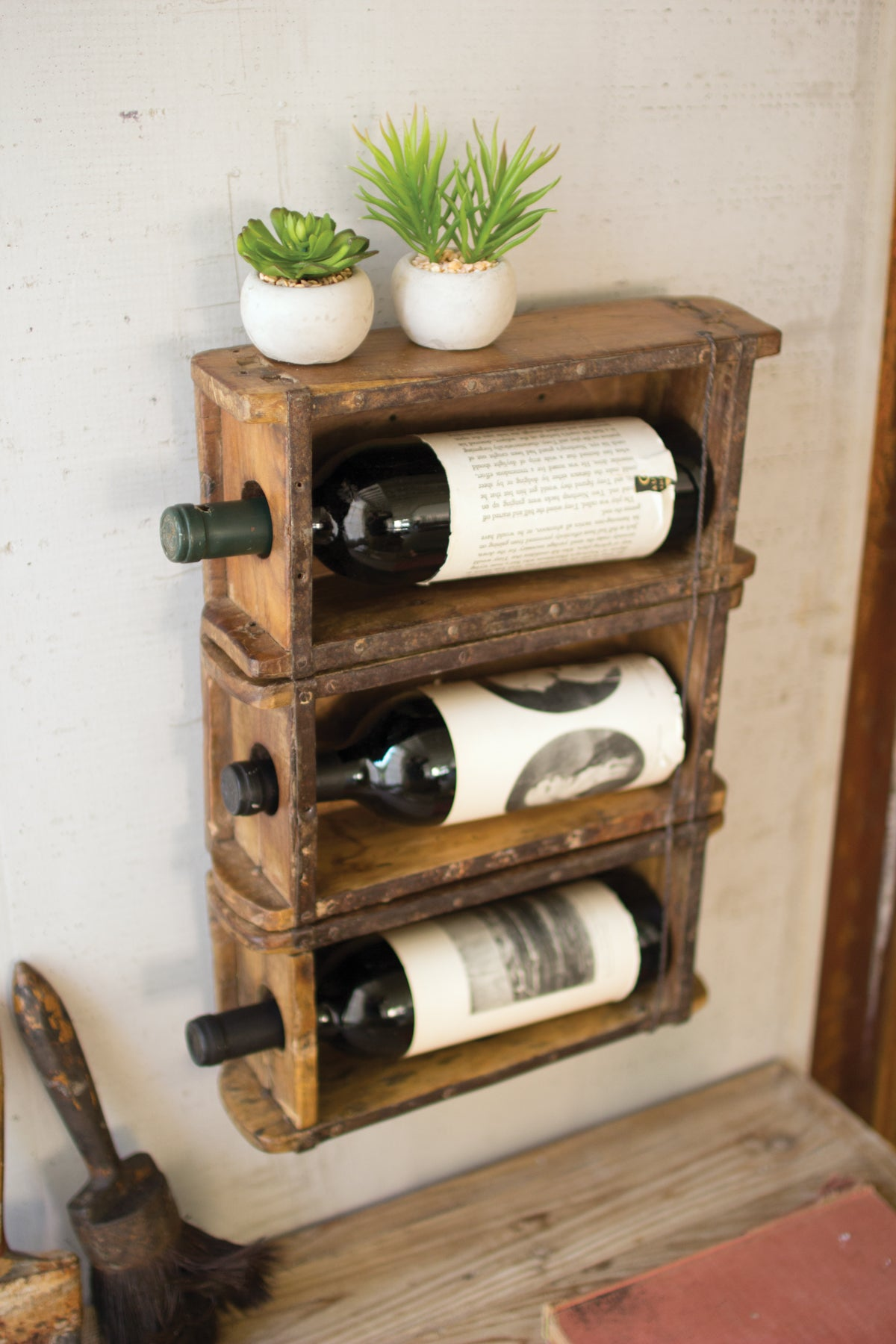 Hanging Antique Reclaimed Wood Brick Mold Wine Rack
