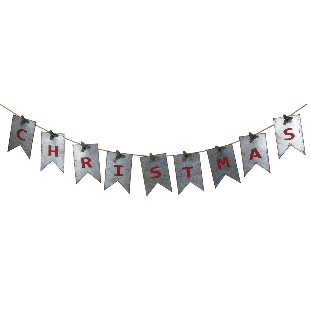 Metal Tin Christmas Banner with 9 Metal Flags - 69-in
