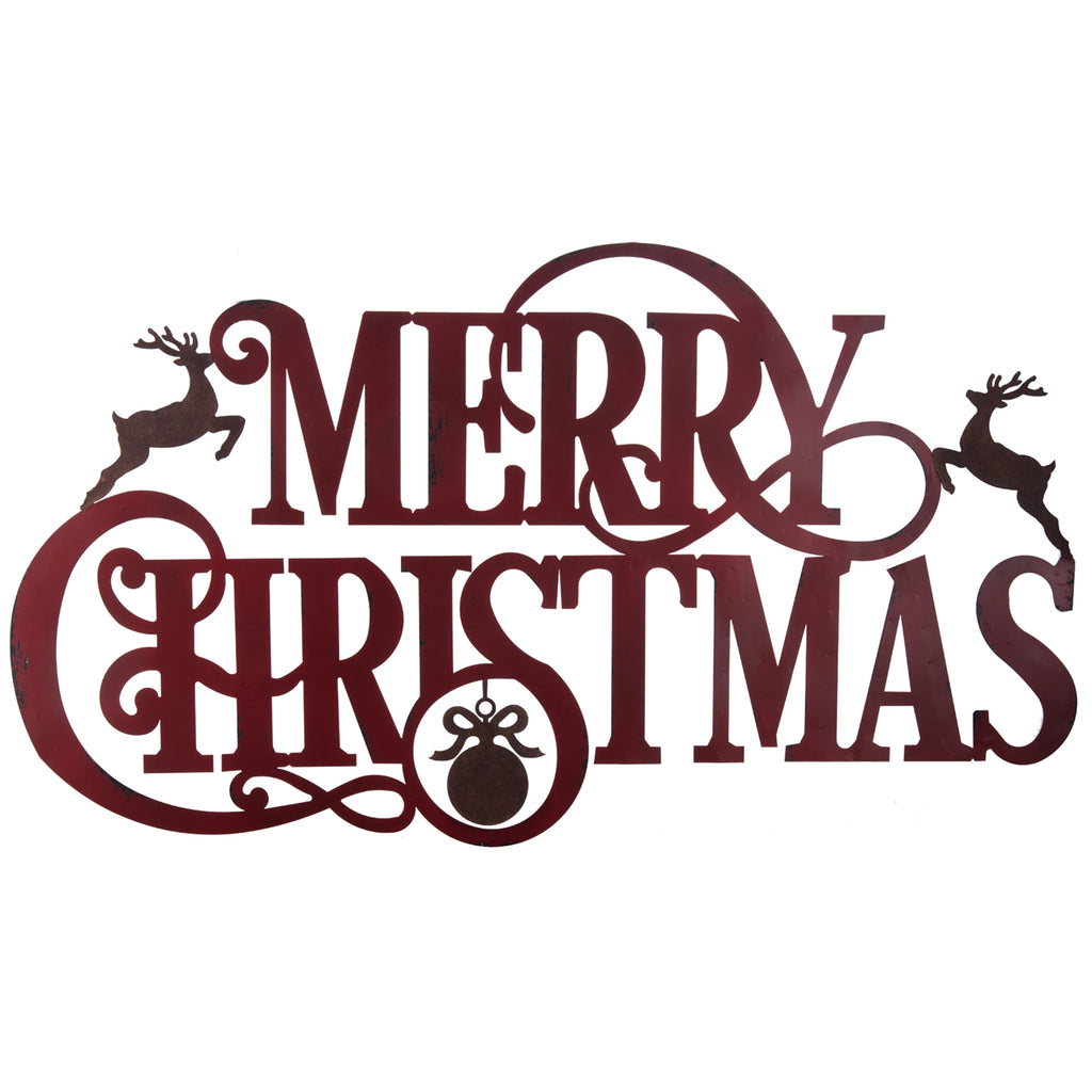 rustic metal merry christmas sign with two deer and ornament 47 in