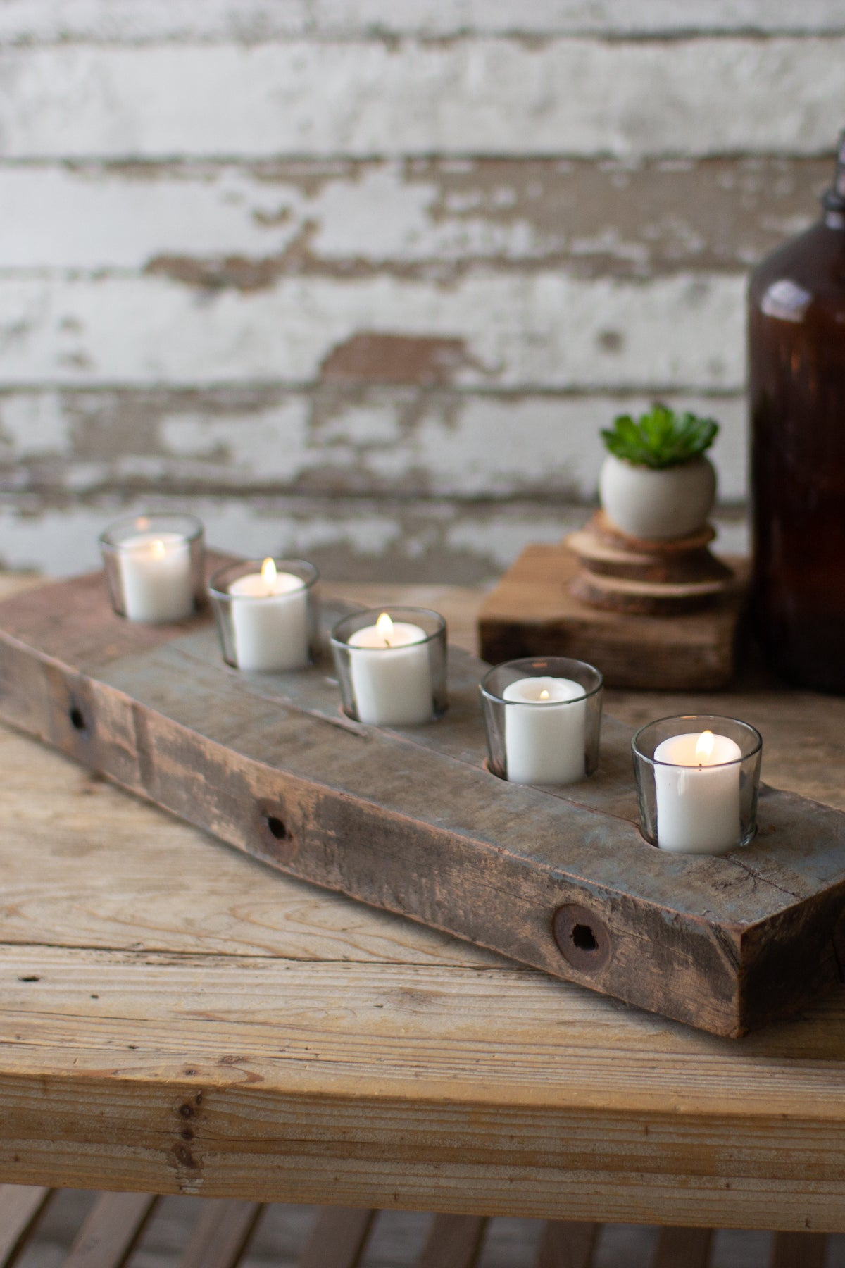 Recycled Wood Beam with 5 Glass Votive Candle Holders