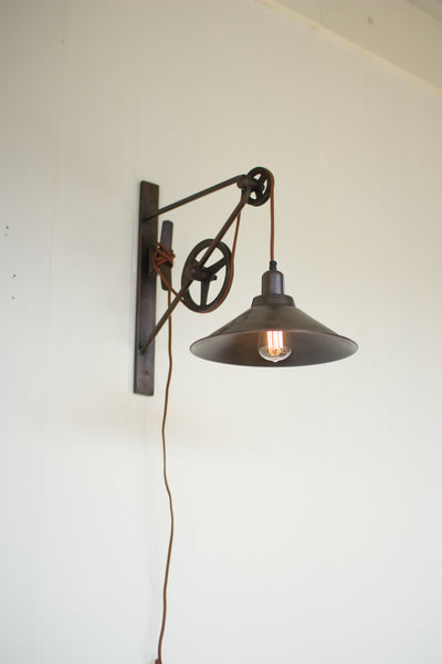 Vintage Rustic Double Pulley Wall Sconce Light - 15-1/2-in