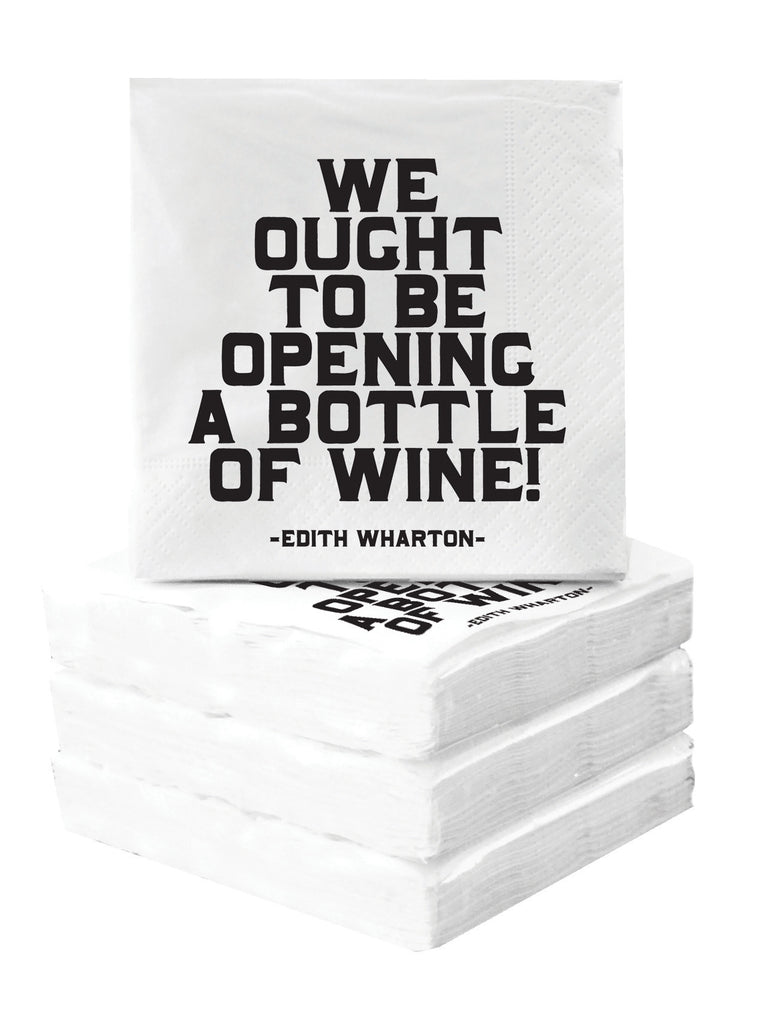 Quotable Cards Cocktail Napkins - We Ought To Be Opening A Bottle Of Wine