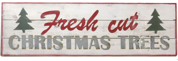 Jumbo Vintage Metal and Wood Fresh Cut Christmas Trees Sign - 48-in