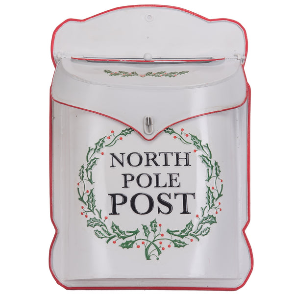 North Pole Post Metal Decorative Christmas Mailbox White 10-1/2-in