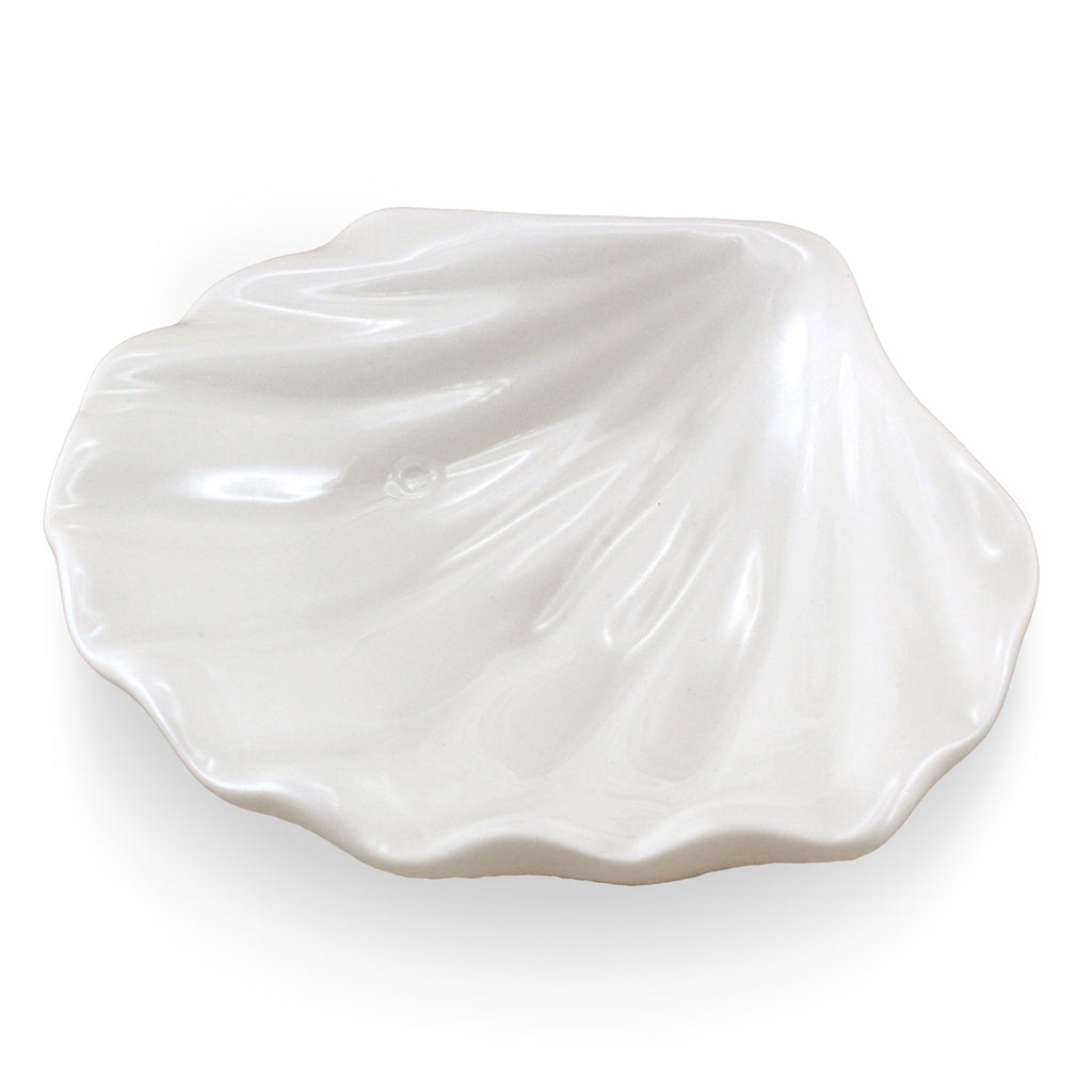 Clam Shell Porcelain Trinket Dish | White | 3-3/4-in