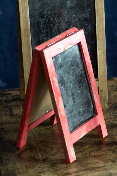 Mini Two Sided Free Standing Wood Frame Chalkboard for Counter - 9-in Red - Mellow Monkey  - 2