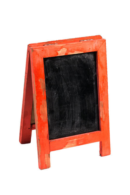 Mini Two Sided Free Standing Wood Frame Chalkboard for Counter - 9-in Red - Mellow Monkey  - 1