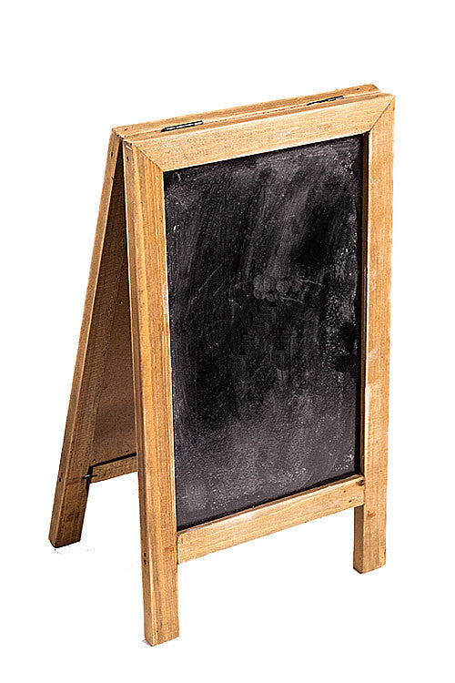 Two Sided Free Standing Wood Frame Chalkboard for Counter - 12-1/2-in Brown - Mellow Monkey