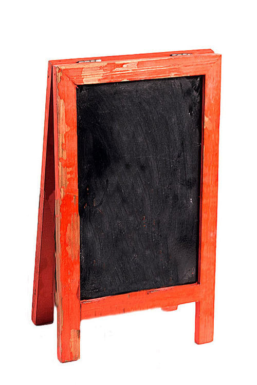 Two Sided Free Standing Wood Frame Chalkboard for Counter - 12-1/2-in Red - Mellow Monkey