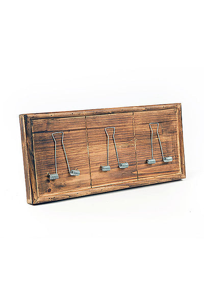 Vintage Burnt Pine Wall Letter Holder 16-in