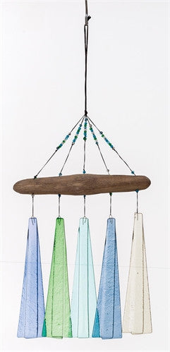 Sea Glass and Driftwood Hanging Mobile Wind Chime