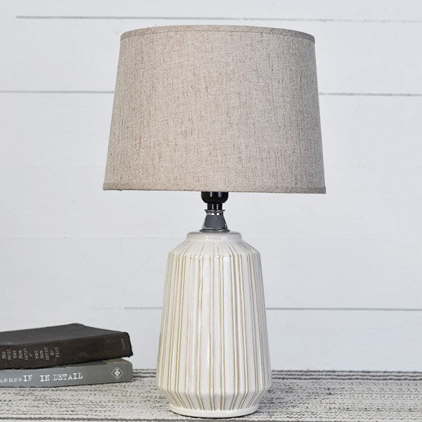 Ceramic Fine Lined White Table Lamp - 12-1/2-in