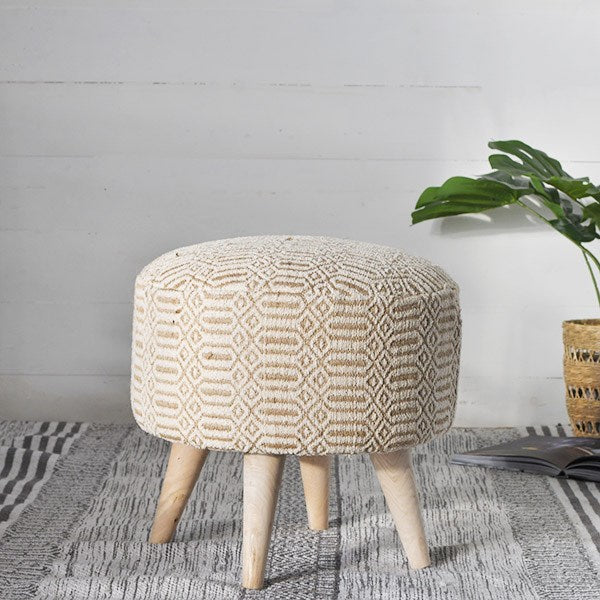 Neutral Pattern Printed Fabric Stool - 18-in