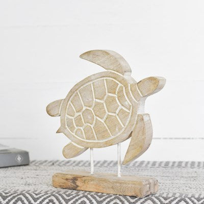 Carved White Wash Wood Decorative Tabletop Turtle- 9-7/8-in