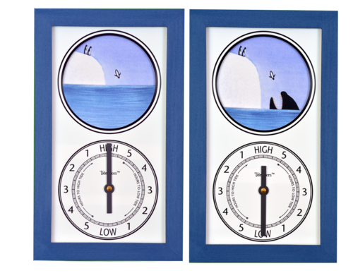 Tidepieces by Alan Winick - Penguins & The Orca - Tide Clock