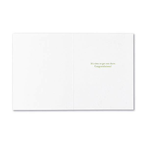 "Positively Green Greeting Card - Graduation - ""The world is full of great and wonderful things for those who are ready for them."" —Tove Jansson"