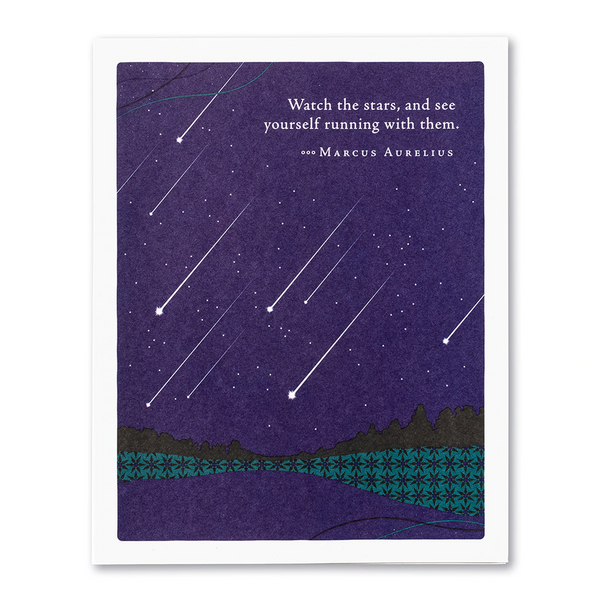"Positively Green Greeting Card- Graduation - ""Watch the Stars and See Yourself Running with Them"" -Marcus Aurelius"