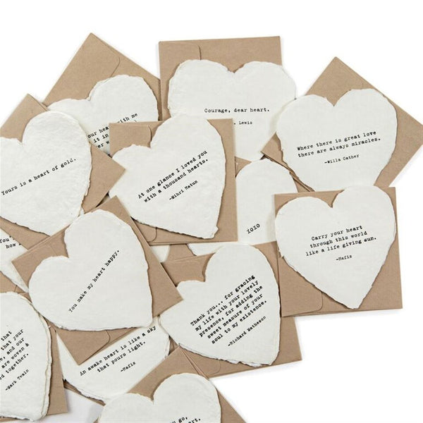 Deckled Edge Heart Shaped Notecards with Envelope -