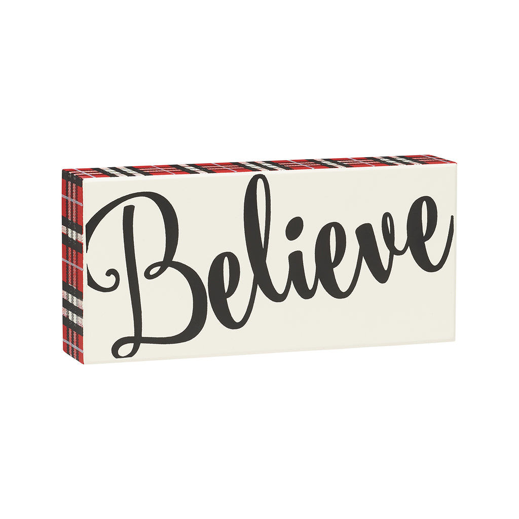 Believe - Holiday Red Plaid Box Sign - 7-1/2-in