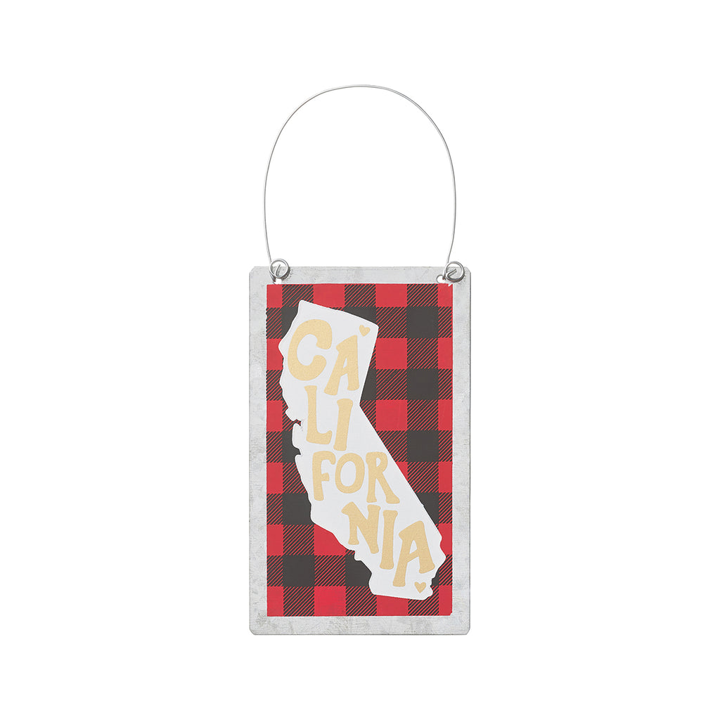 California - Buffalo Tin Plaid State Ornament