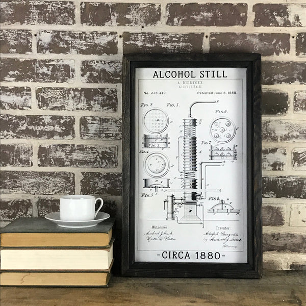 Vintage Patent Office Drawing - Alcohol Still Circa 1880 - Framed Shadowbox 20-in
