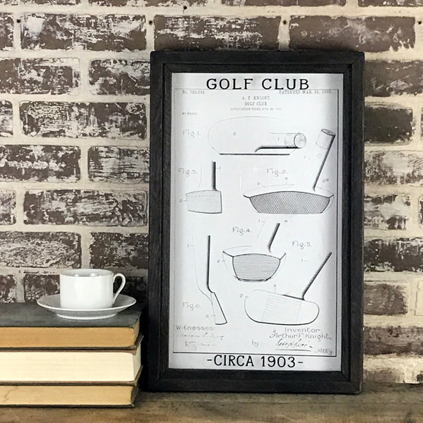 Vintage Patent Office Drawing - Golf Club Circa 1903- Framed Shadowbox 20-in