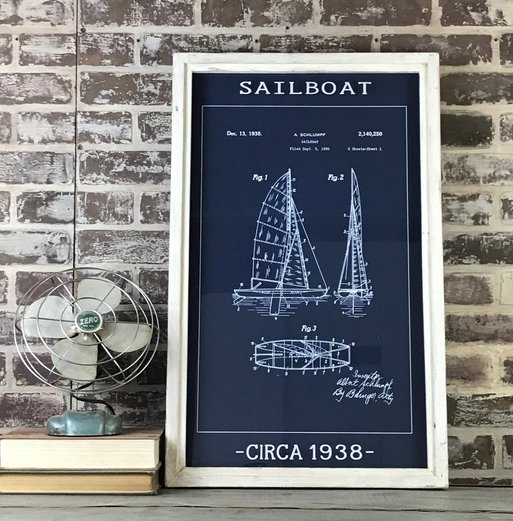 Vintage Patent Office Blueprint - Sailboat - Circa 1938 - Framed Whitewash Shadowbox 28-in