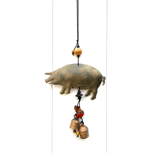 Pot Belly Pig - Metal Beaded Wind Chime With Bell - 16-in