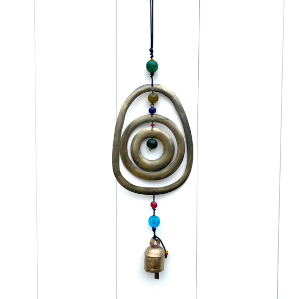 Triple Spiral Rings - Metal Beaded Wind Chime With Bell - 17-in