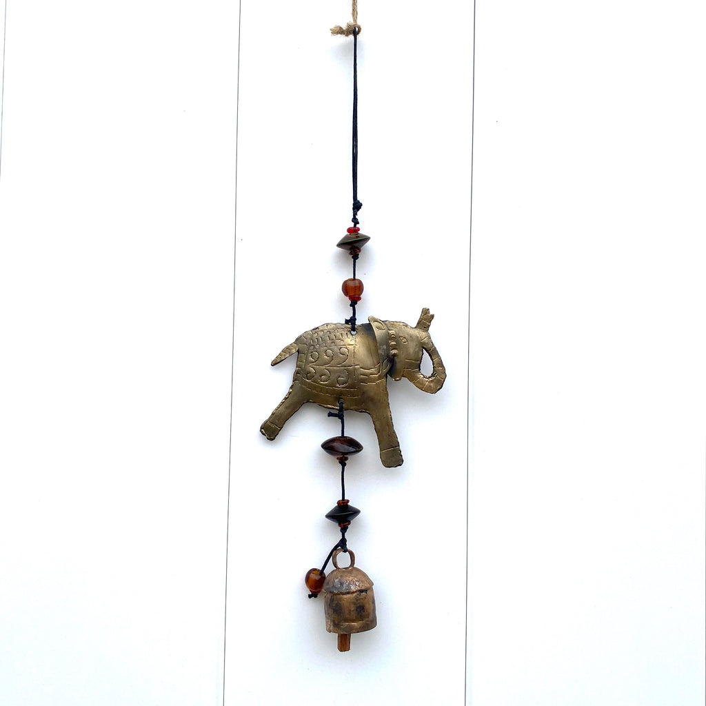 Wish Me Luck Elephant - Metal Beaded Wind Chime With Bell - 14-in